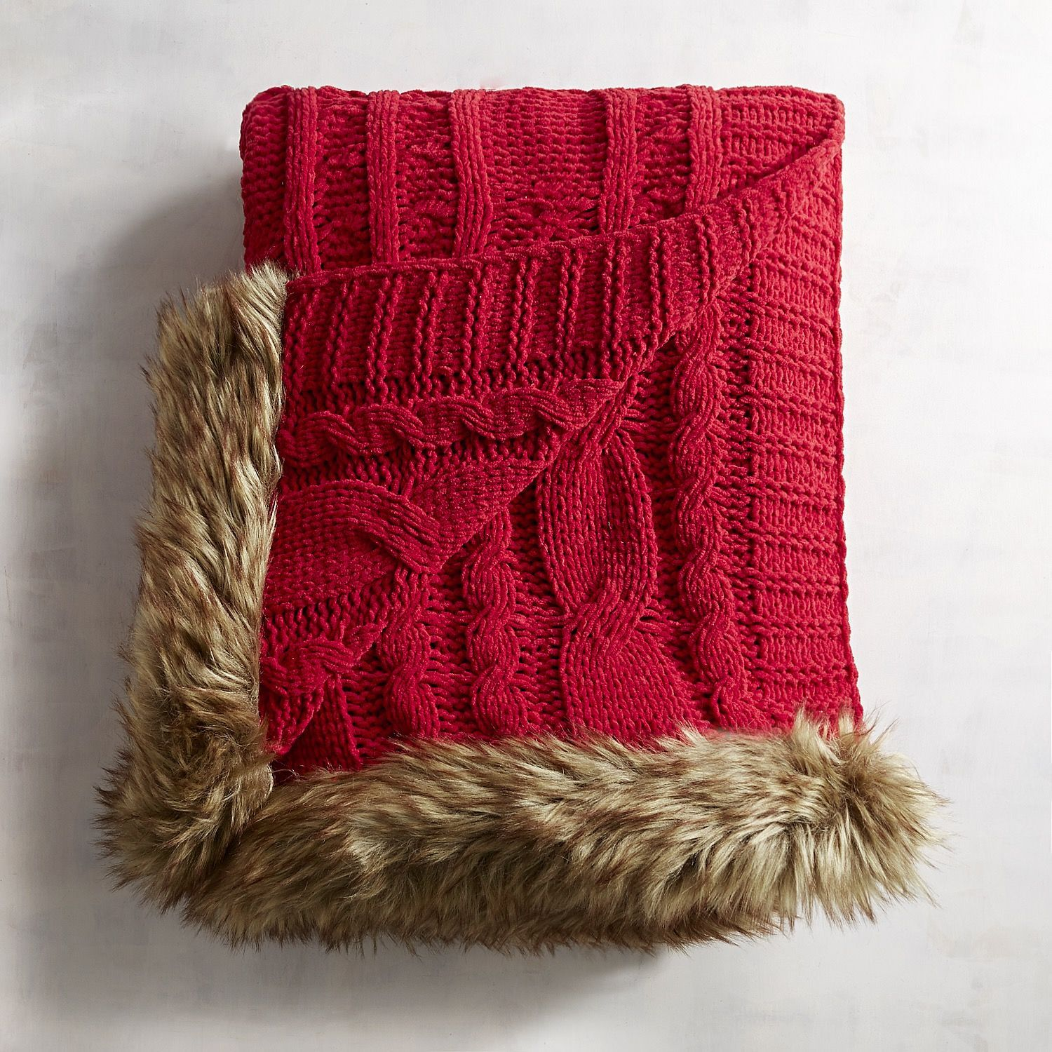Red Cable-Knit Faux Fur Trim Throw | Cable knitting, Fur and Cable