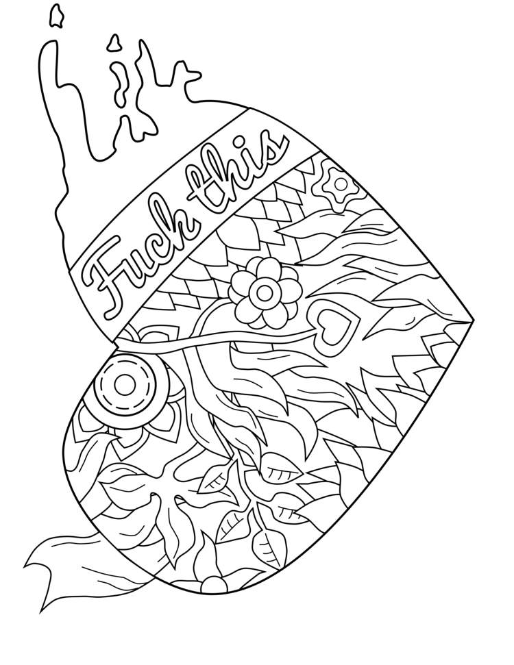 swear word coloring page swearstressaway.com | Free adult ... | free printable coloring pages for adults only swear words