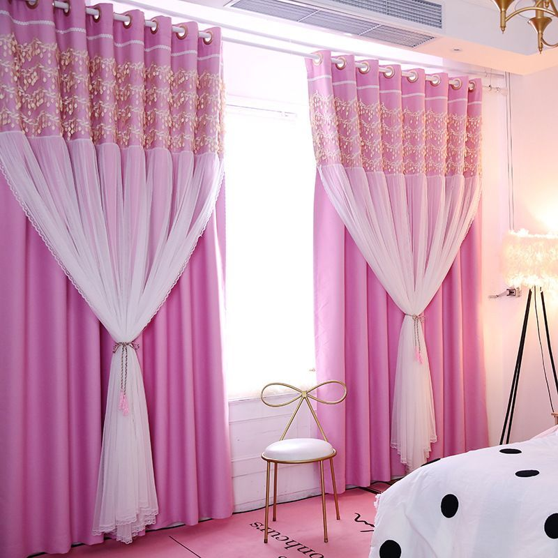 Romantic Hot Pink Sheer Little Girls Bedroom Kids Blackout ...