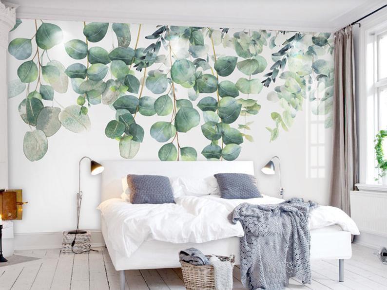 Per darti un'idea migliore di come queste. Watercolor Dark Green Vine Leaf Wallpaper Wall Mural Spring Etsy Carta Da Parati Acquerello Carta Da Parati Parete Murale