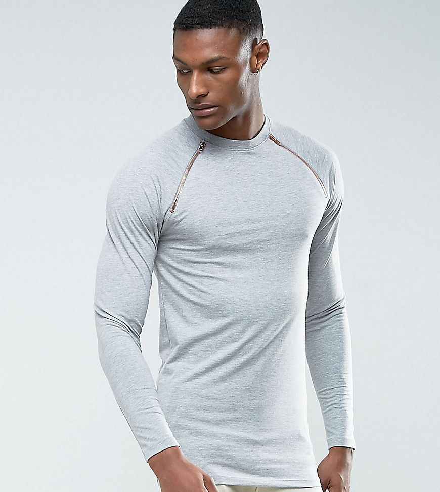 Asos tall muscle long sleeve tshirt with rose gold zips in black