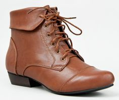 Amazon.com: Breckelles Women's Fold Over Lace Up Oxford Boots Brown 8: Clothing