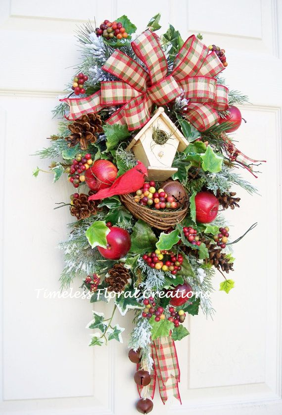 Christmas Wreath Swag~Cardinal~Birdhouse~nest, Rusty Jingle Bells