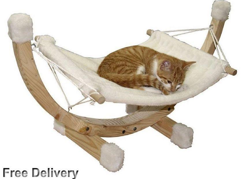 Cat Bed Hammock Wooden Frame Pet Home House Siesta Nesting Pets Beds Scratching Ebay Cat Hammock Hammock Wooden Cat