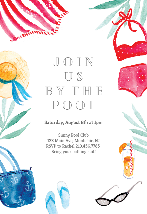 By The Pool Pool Party Invitation Template Free Greetings Island Pool Party Invitation Template Party Invite Template Pool Party Birthday Invitations