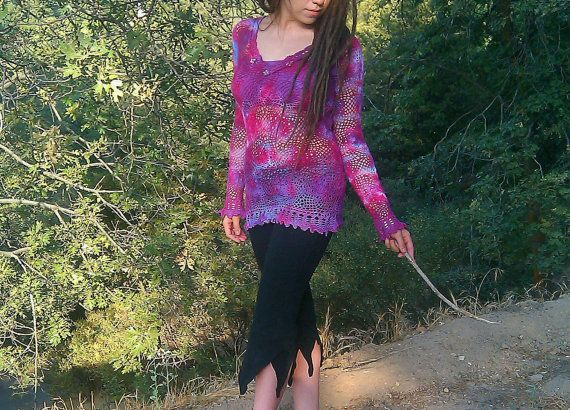 Sweet Love Crochet Pixie Top Hand Dyed Ready by TheWildEarthChilde, $72.00