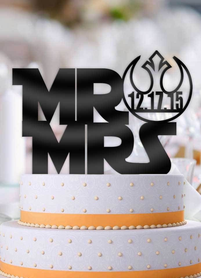 Personalized Star Wars Style Mr And Mrs With Date Cake