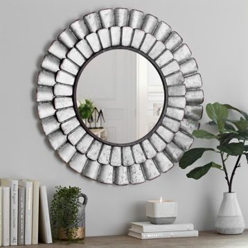 Galvanized Metal Petal Wall Mirror With Images Inspirational Wall Decor Galvanized Metal Wall Galvanized Metal Decor