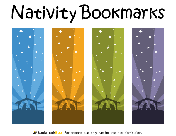 Beautiful Free Printable Nativity Bookmarks. Download The PDF Template At  Http://bookmarkbee.  Christmas Bookmark Templates