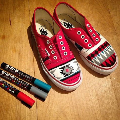My daughter's new personalized shoes! #Posca #Vans