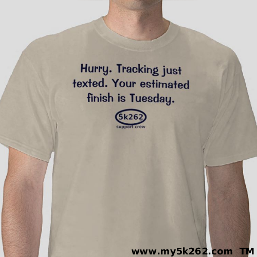 Damn the tracking app!! | Available in over 100 style and color combinations for both men and women.  Fun running shirts, mugs, and bags from My5k262.