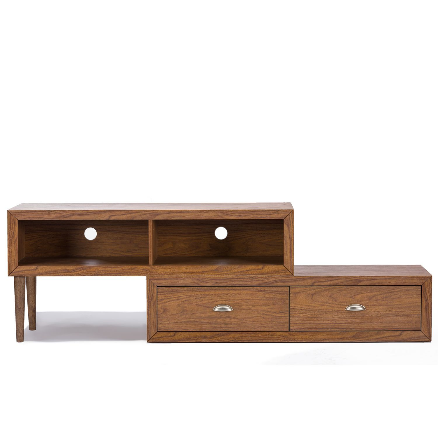 Keep a low profile with our Bainbridge Wood Contemporary TV Stand