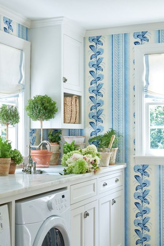 blue and white roman shade window treatments laundry on laundry room wall covering ideas id=98824