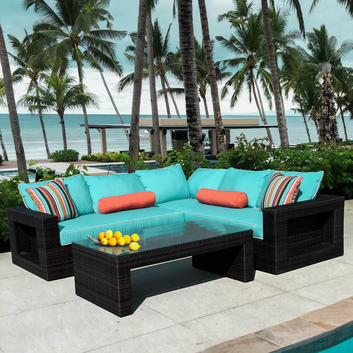 Lakeview Gentilly 3 Piece Wicker Patio Sectional Set W Left Arm