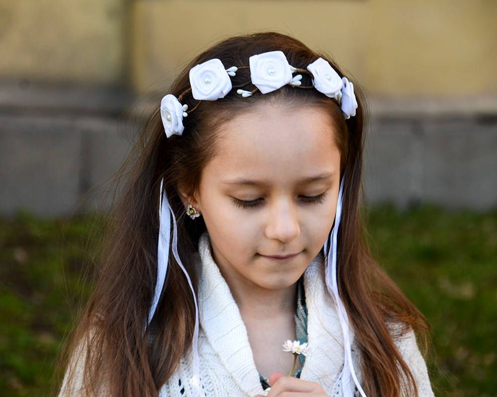 Flower girl crown first communion hair white hair wreath white flower girl crown first communion hair white hair wreath white rose headband white flower crown toddler hair white wedding accessories izmirmasajfo Image collections