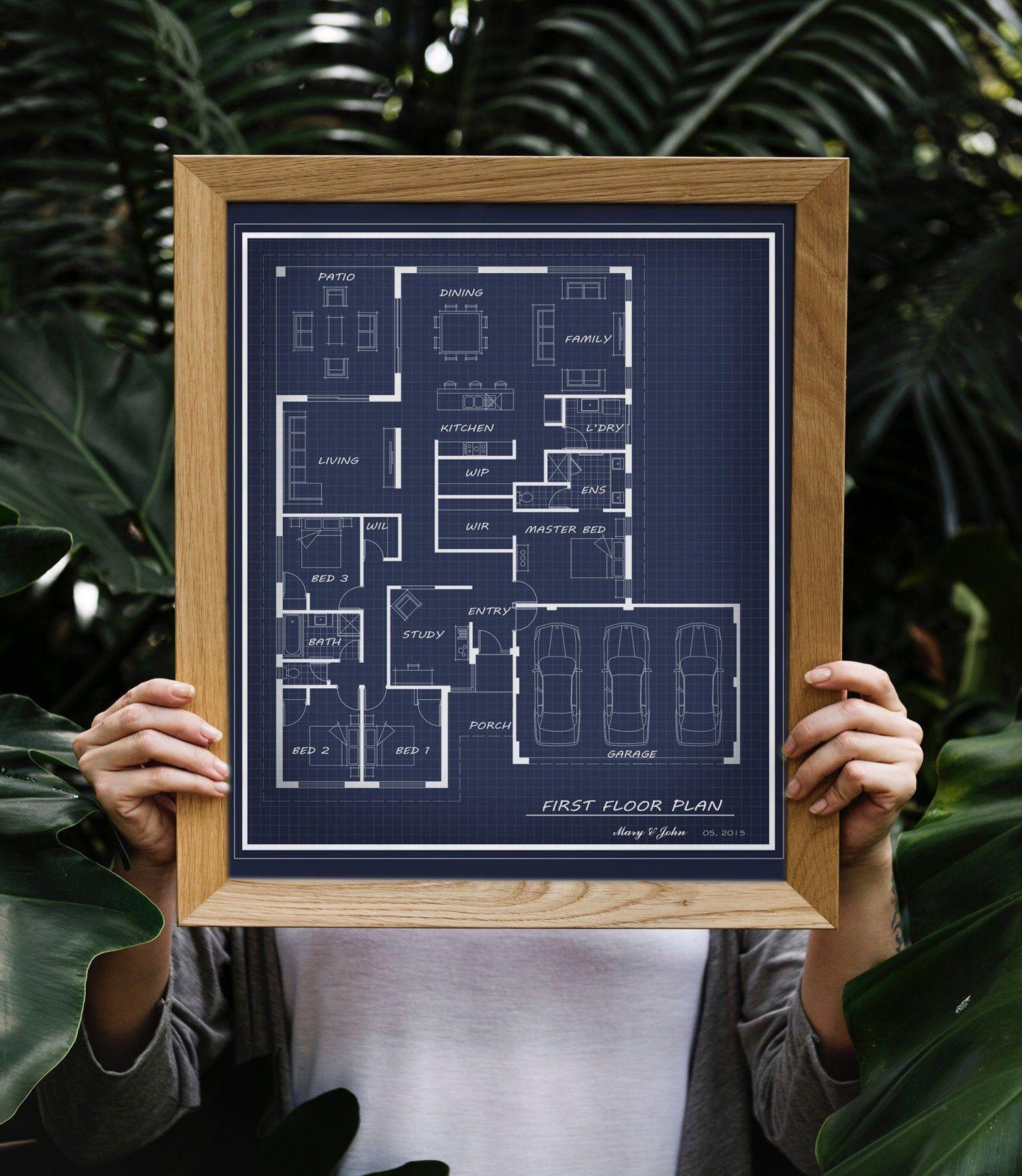 Custom Digital Floor Plan Artwork Blueprint Floor Plan Etsy How To Plan First Home Gifts Floor Plan Drawing