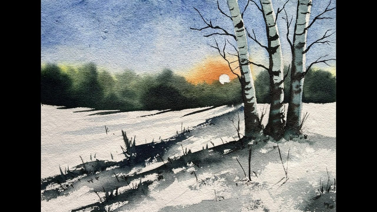 How To Paint A Snowy Winter Landscape Easy Watercolor Painting