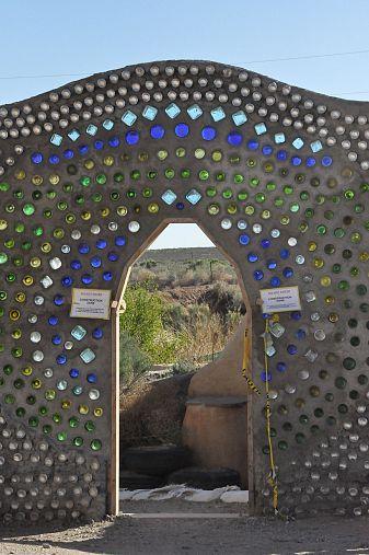 glass bottle entry gate - Earthship visit