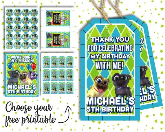 Puppy Dog Pals Favor Bag Tags For Boys PLUS Free Gift