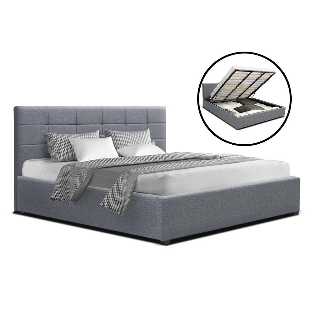 Lisa King Size Gas Lift Bed Frame Base With Storage Mattress Grey