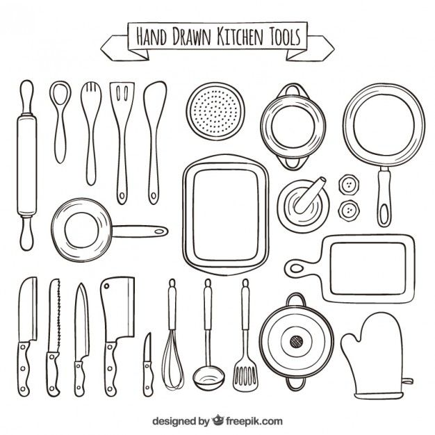 Kitchen Hand Tools And Their Uses With Pictures: Hand Drawn Collection Of Kitchen Tools Free Vector