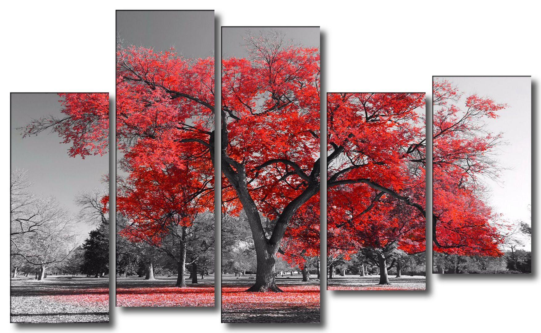 Cuadro de #paisaje #árbol rojo fondo blanco y negro, lienzo 5 piezas ...