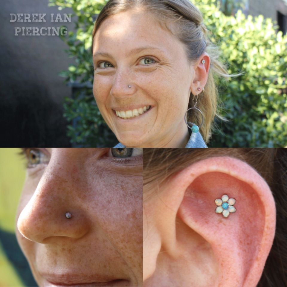 Lip piercing under nose  Nostril piercing with a lavender opal by NeoMetal and scapha