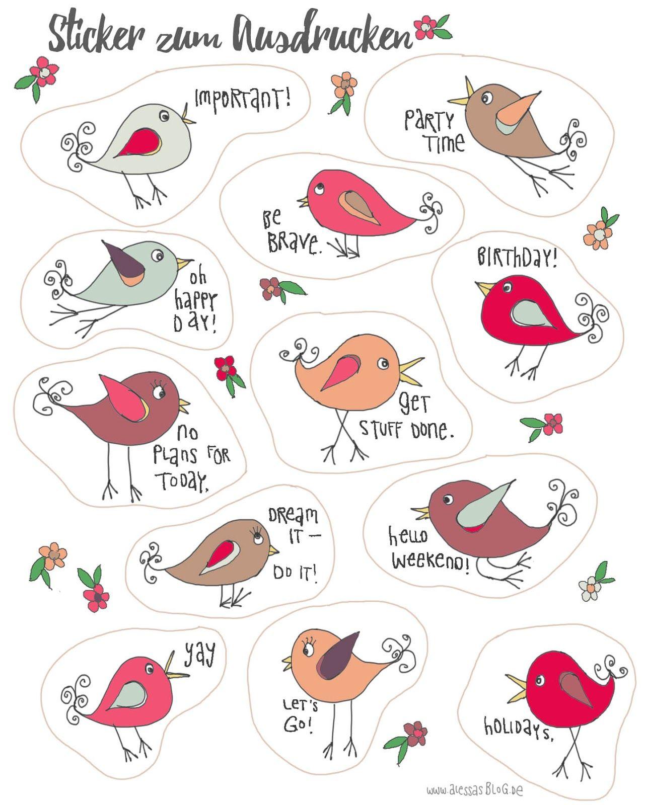 Alessas Blog: Sticker zum Ausdrucken für Filofax, Kalender, Planer