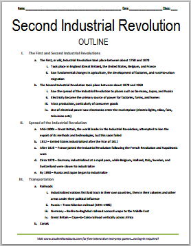 Second Industrial Revolution Free Printable World History
