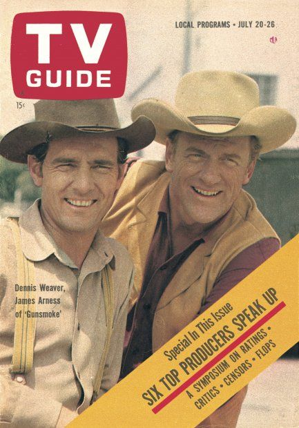 "Dennis Dillon Dodge >> TV Guide, July 20, 1963 - Dennis Weaver and James Arness of ""Gunsmoke"" | Tv guide, Tv westerns ..."