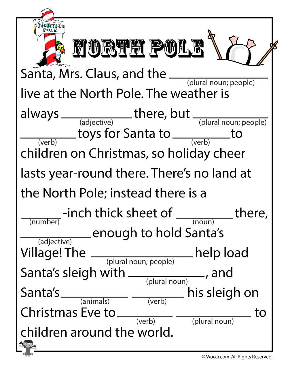 North Pole Mad Lib Christmas Mad Libs Christmas Mad Libs For
