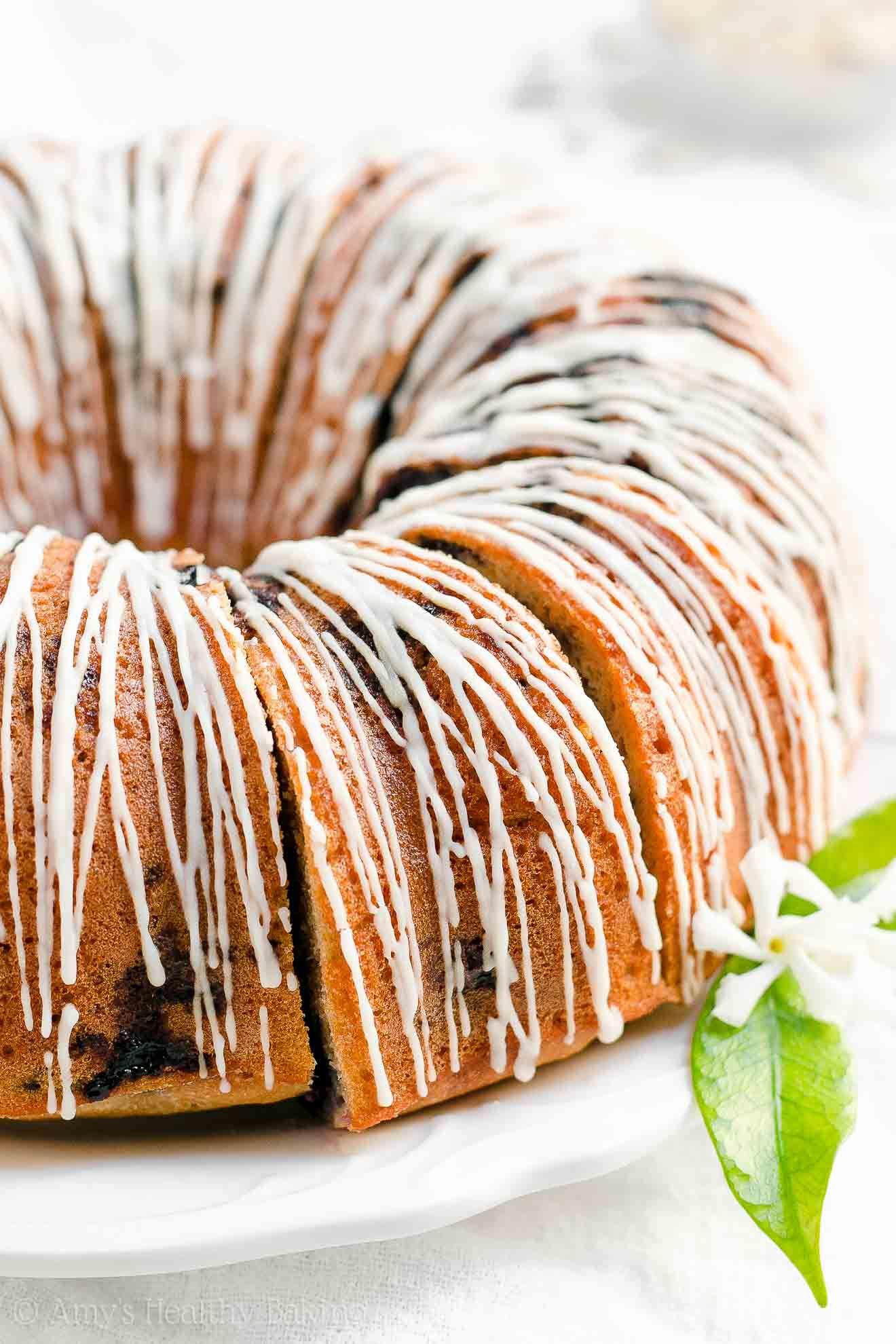 Easy healthy greek yogurt blueberry almond bundt cake