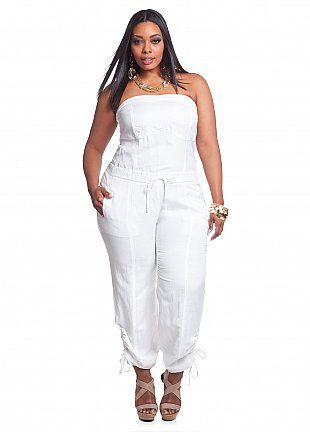 27b15fb0cce60 Ashley Stewart  Linen Self-tie Strapless Jumpsuit
