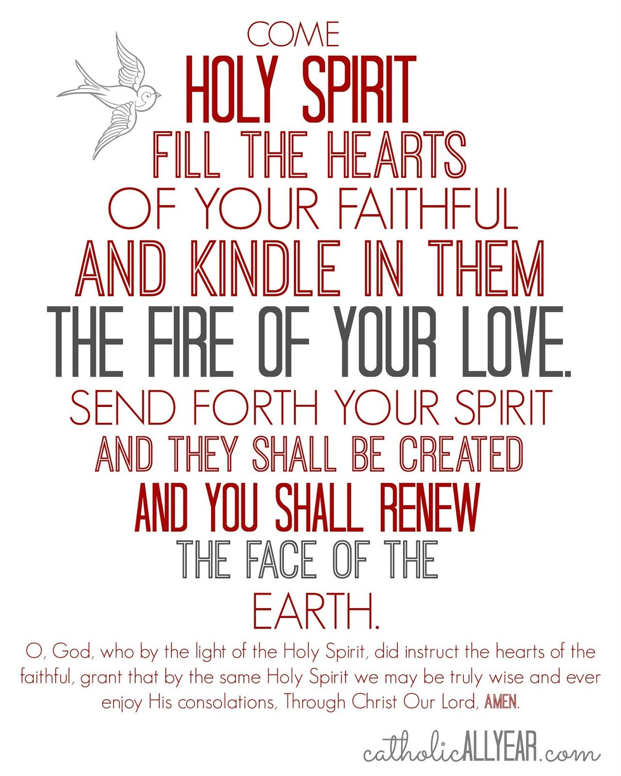 Come Holy Spirit prayer. Catholic All Year: Pentecost is Coming:  Celebration Ideas and Free Printables