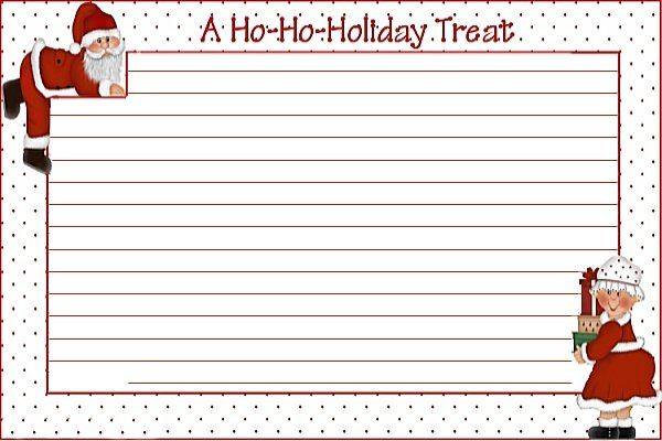 Free Printable Christmas Recipe Card  Blank Printable Recipe