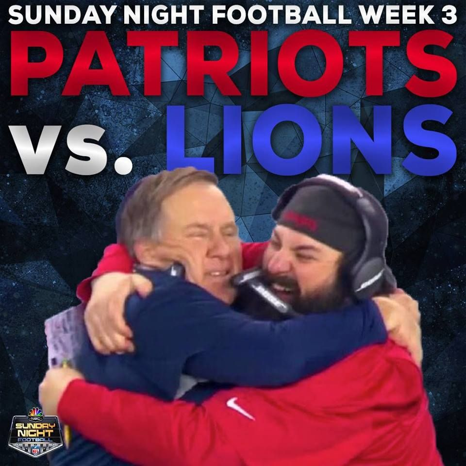 Bill And Matty P Reunite On Sunday Night Former New England Defensive Coordinator Matt Patricia An With Images Sunday Night Football Detroit Lions New England Patriots