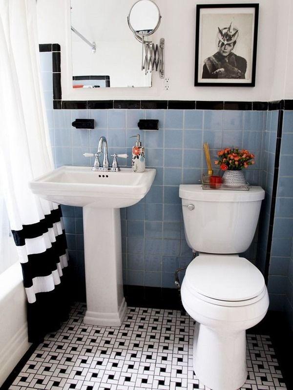 Working With An Outdated Bathroom Emily A Clark Vintage Bathroom Tile Black And White Bathroom Floor Blue Bathroom Tile