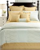 Swanky Outlet — Martha Stewart Bedding, Ribbon Trace Embroidered Tan King Bed Quilted Coverlet NEW