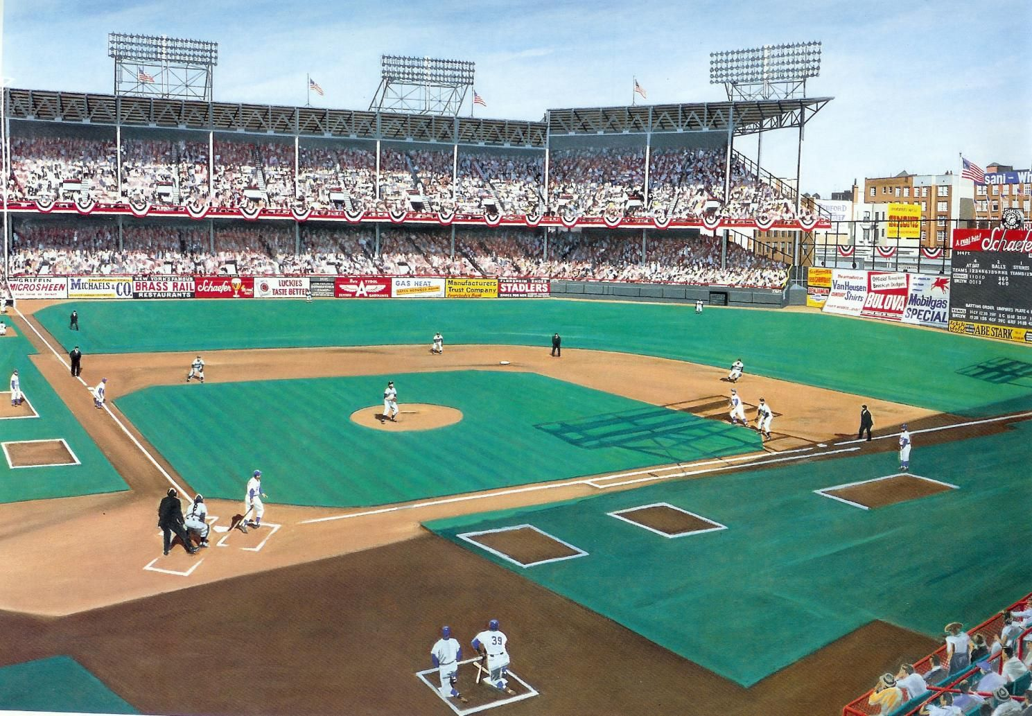 Ebbets Field By Andy Jurinko Baseball Painting Baseball Park Mlb Stadiums