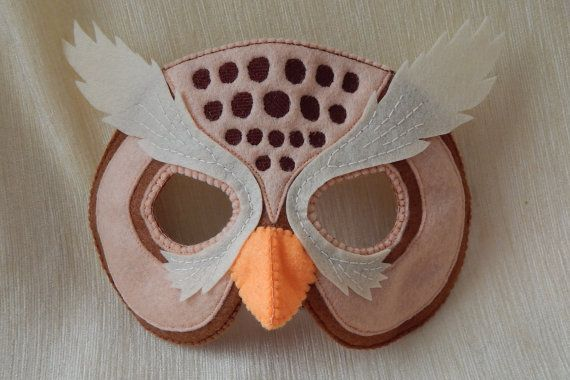 Owl - felt mask. Owl mask for children. Felt mask. Owl mask. Halloween mask. Party mask.