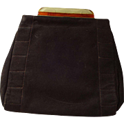 Art Deco Bakelite Clutch Purse Vintage 1920s Brown Suede Virginia Art Dance Handbag