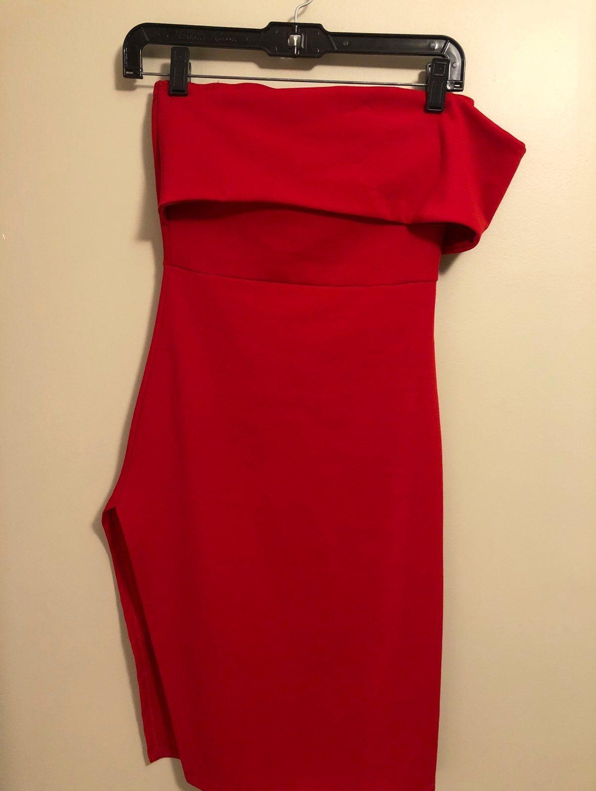 Fashion nova strapless dress with side split wore once