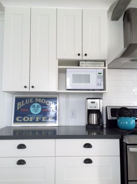 Hack Of Usual Ikea Approach To Microwave Cabinetry For Our Tiny Kitchen With Matching Tiny Microwave We Used A 12 Deep 39 Tiny Kitchen Kitchen Cabinetry