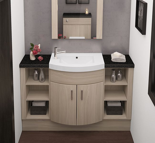 fitted bathroom furniture swiss elm curved slab - Fitted Bathroom Ideas