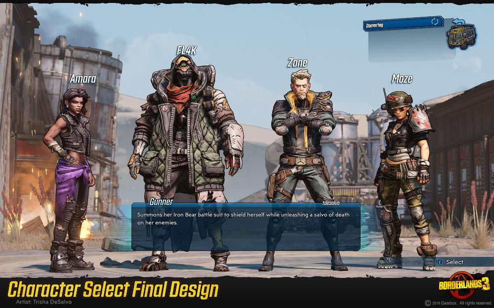 Artstation Borderlands 3 Character Select Concept Trisha Desalvo Borderlands Borderlands 3 3 Characters