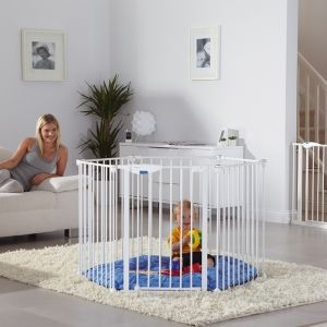 Easily converts from a play pen to a room divider or multi panel