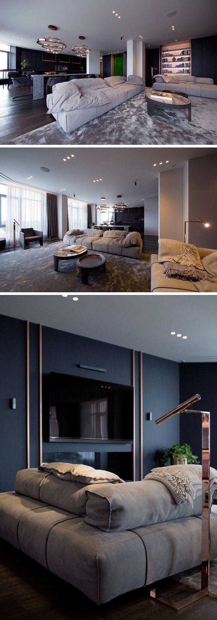 offenes wohnzimmer kupfer akzente wanddeko leuchten #innendesign ...