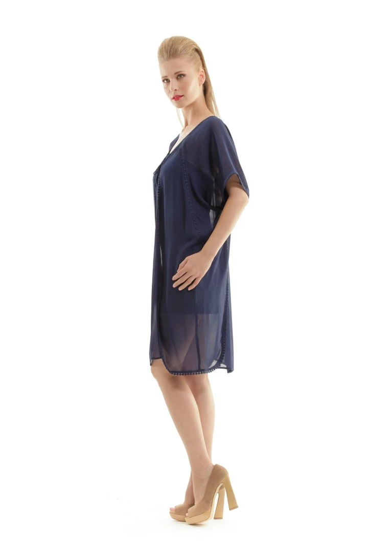 Conquista Classic Comfortable Sheer Ethnic Style Dress in Navy Blue Sizes 8 - 18 #navyblueshortdress