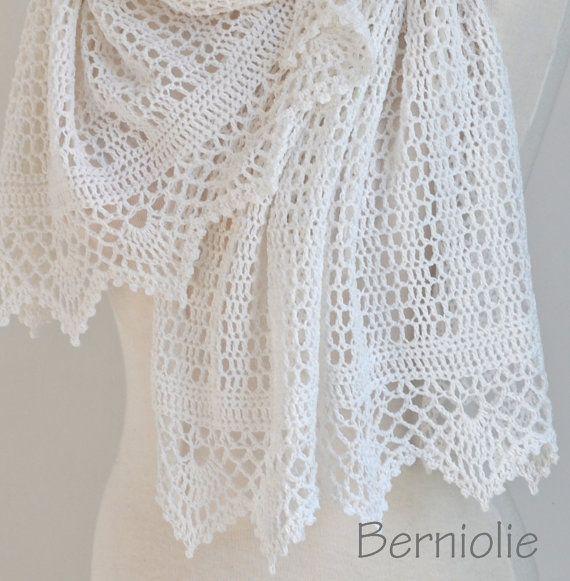 White lace crochet shawl N305 by Berniolie on Etsy | crochet ...