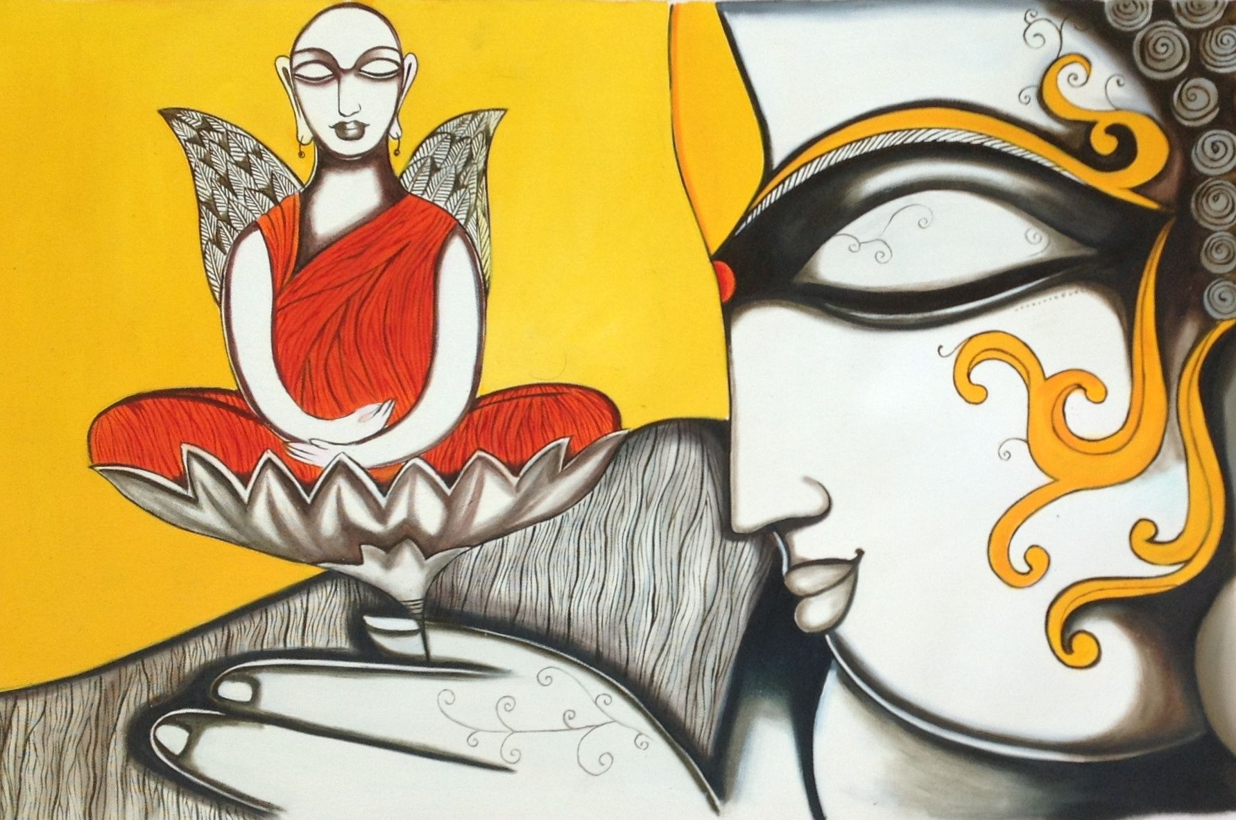 Buddha Wall Art Hand Painted Canvas Oil Indian Buddhist Spiritual ...